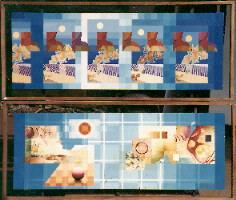 1979 'ritme'(boven),'weerklank' (onder) 44x122cm olieverf/hout