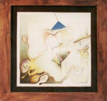 1992 'erotica'(oranje lijst) 107x107cm olieverf/linnen/hout/pluche