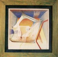 1992 'erotica'(groene lijst) 107x107cm olieverf/linnen/hout/pluche