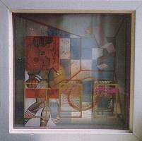 1984 'boxmatch' kijkkast 30x30x10cm olieverf/hout/glas