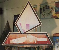 1984 'vallende vlag' 150x150cm olieverf/linnen