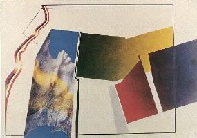 1984 'compositie vlag 1' 70x100cm gouache/aquapotlood