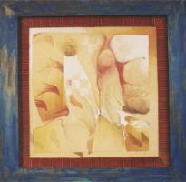 1992 'erotica'(blauwe lijst) 107x107cm olieverf/linnen/hout/pluche