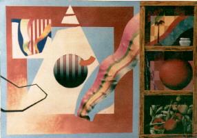 1984 'bal+vlag+kist' 70x100cm olieverf/papier
