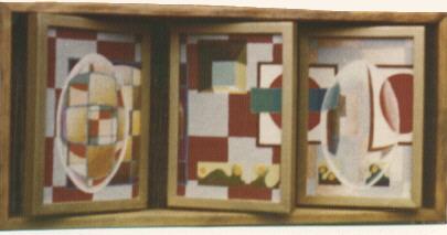 1976 '1ste dubbele drieluik' 26x54cm olieverf/hout draaibare panelen