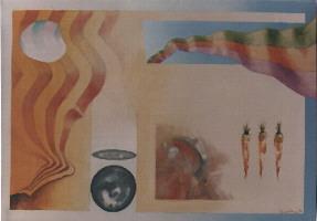 1985 'vlag + worteltjes' 70x100 cm olieverf/linnen